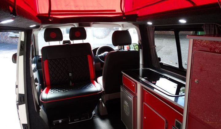 red campervan interior