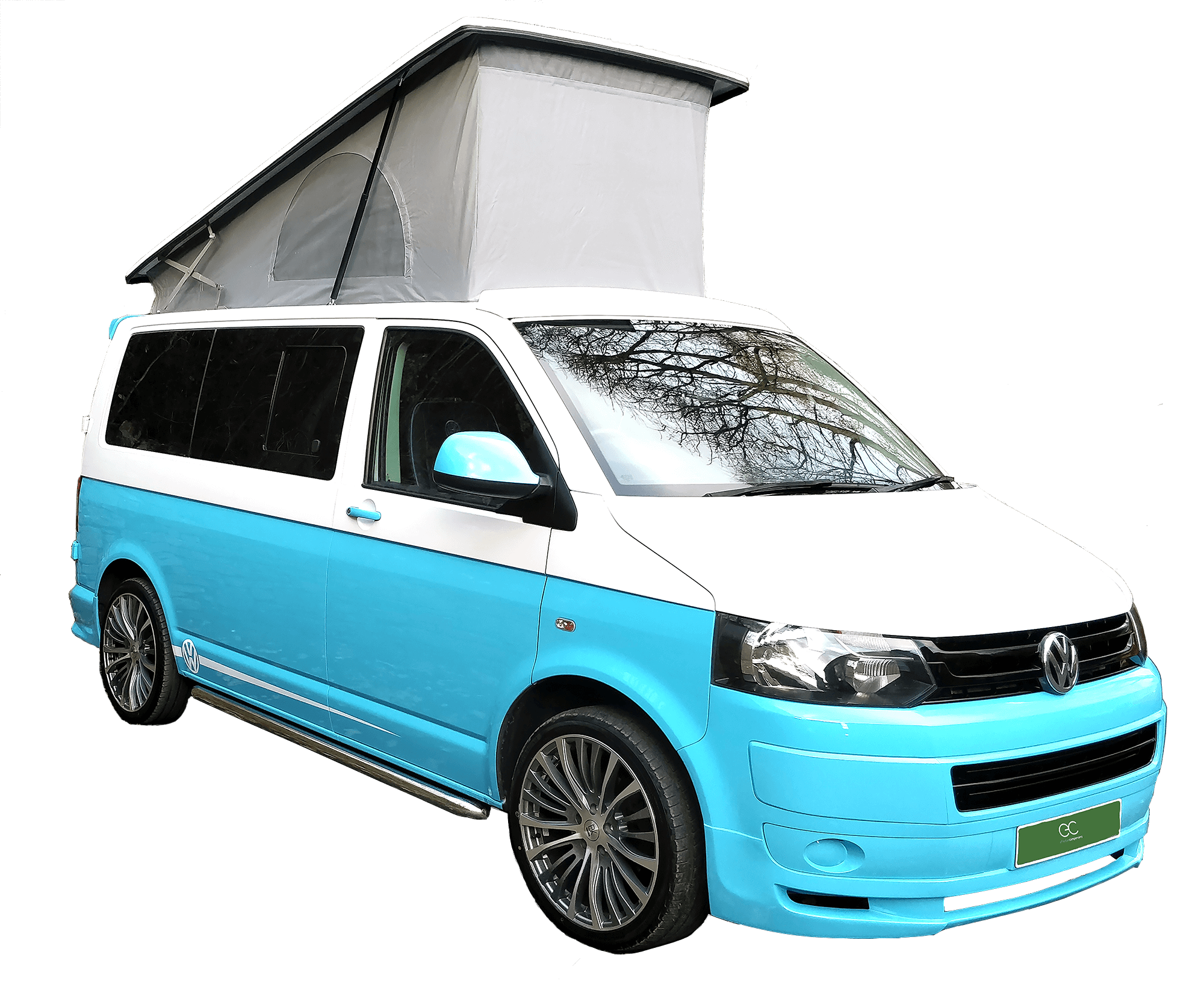 blue and white campervan